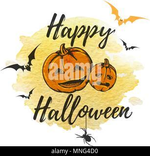 Halloween Grußkarte mit orangefarbenen Kürbisse und gelb Aquarell Textur. Vector Illustration. Stockbild