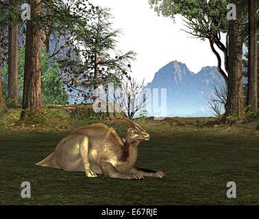Dinosaurier Parasaurolophus / Dinosaurier Parasaurolophus Stockbild