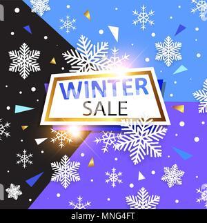 Design für saisonale Weihnachten Verkauf. Weiße Schneeflocken und Banner auf abstrakten geometrischen Hintergrund. Stockbild