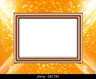 Leere Rahmen auf eine farbige Wand Beleuchtung Scheinwerfer Stockbild