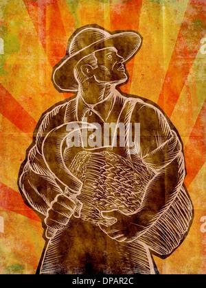 Ein Weizen Landwirt mit einer Sense Stockbild