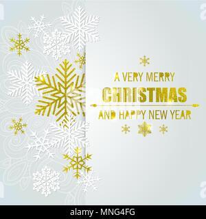 Dekorative vektor Weihnachten Hintergrund mit weißen und goldenen Schneeflocken. Frohe Weihnachten Schriftzug. Stockbild