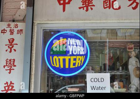New York Lotterie Zeichen speichern Stockbild