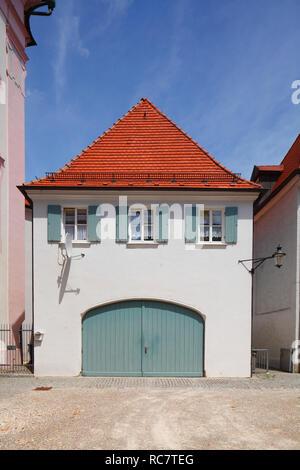 Historische Hausfassade in der Altstadt, Günzburg, Schwaben, Bayern, Deutschland, Europa ich Historische Hausfassade in der Altstadt, Günzburg, Schwaben, Bayer Stockbild