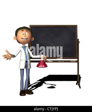 Cartoon-Figur-Chemiker mit board Stockbild