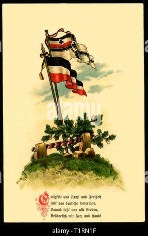 Deutschland, Schleswig-Holstein, Gammellund, WK I, Propaganda, patriotische Postkarte mit der Reichskriegsflagge und der schwarz-weiß-rote Flagge zusammen mit der Nationalhymne der Bundesrepublik Deutschland, 21. 09. 1915., Additional-Rights - Clearance-Info - Not-Available Stockbild
