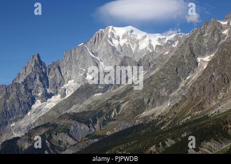 Detail des Mont Blanc Massiv. Italienische Seite von Courmayeur Stockbild
