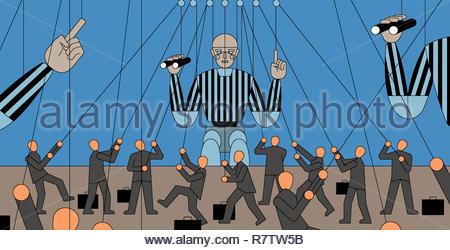 Viele kleine Unternehmer Kontrolle großer Schiedsrichter Marionetten Stockbild