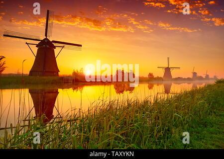 Windmühlen bei Sonnenaufgang, Kinderdijk, Niederlande Stockbild
