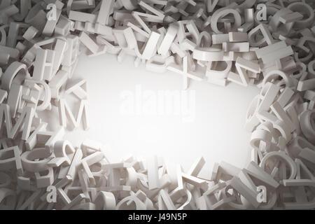 Zufällige Buchstaben Abstrakt 3D illustration Stockbild