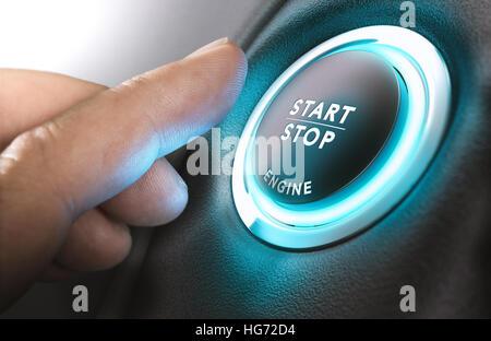 Auto-Stopp-Start-System mit Finger drücken Sie die Taste, horizontales Bild Stockbild