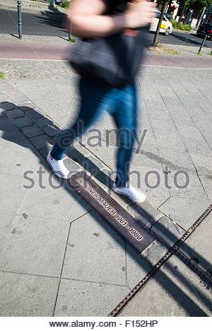 Berliner Mauer Plaque, Gedenkstätte Berliner Mauer, Deutschland Stockbild