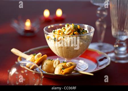 Jakobsmuschel Brochette mit Kokosmilch Risotto Stockbild