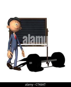 Cartoon-Figur Physiklehrer mit Masse Stockbild