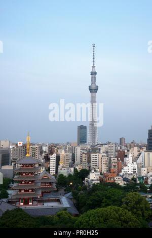 Blick über die Stadt mit Tokio und Skytree Five-Storied Pagode, Tokio, Japan, Asien Stockbild