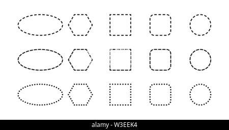 Set mit geometrischen Formen. Die Konturen der geometrische Formen mit gestrichelten Linien. Stockbild