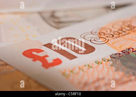 Nahaufnahme von einer Minze ungenutzte zehn-Pfund-note Stockbild