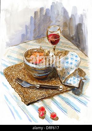 Ein Aquarell aus einer Schüssel Essen und einem Glas Wein Stockbild