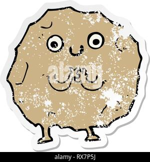 Distressed Aufkleber einer Cartoon rock Charakter Stockbild