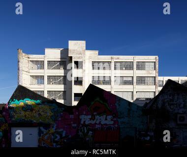 Die Custard Factory, Gibb, digbeth Street, Birmingham, West Midlands, 2017. Allgemeine Ansicht der ehemaligen Fabrik, die jetzt ein Kunst- und Business Center, aus dem Südwesten, mit dem Sägezahn Dach der Devonshire arbeitet in den Vordergrund. Stockbild