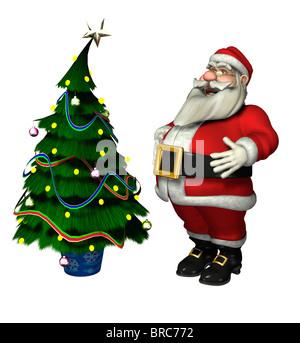 Weihnachtsmann mit Tannenbaum Stockbild