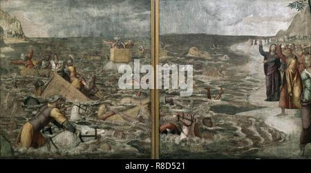 Die Durchquerung des Roten Meeres (Pharaos Hosts im Roten Meer versenkt), 1509-1510. In der Sammlung der Pinacoteca di Brera, Mailand gefunden. Stockbild