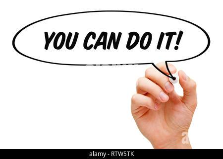 Hand zeichnen, die Sie Tun Können, Um Es sprechblase motivationale Konzept mit schwarzem Marker. Stockbild