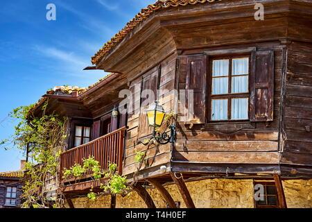 Traditionelle Holzarchitektur, Nessebar Altstadt, Bulgarien Stockbild