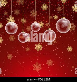 Weihnachten Hintergrund mit hängenden Kugeln und Schneeflocken Stockbild