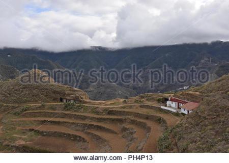Bewölkt vulkanische Landschaft, einsamen Haus mit terrassierten Feldern, Anagagebirge im Nordosten von Teneriffa Kanarische Inseln Spanien. Stockbild