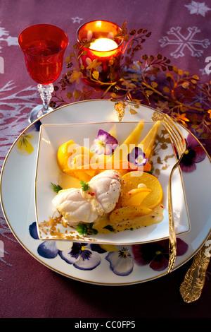 Seeteufel-Frikassee mit Gemüse Stockbild