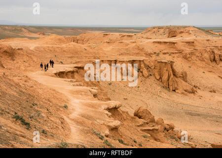 Bayanzag Klippen, Ort der fossilen Dinosaurier Entdeckungen, Dalanzadgad, Wüste Gobi, Mongolei, Asien Stockbild