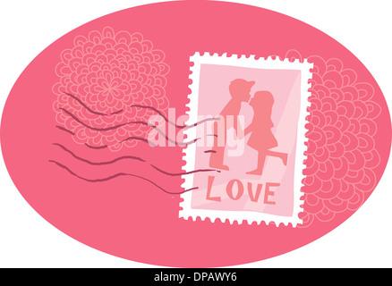 Einen Dienststempelabdruck, der beiden Kinder küssen vor weißem Hintergrund Stockbild