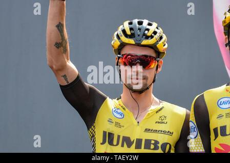 Primoz Roglic Sloweniens und Team Jumbo während der 102. Ausgabe des Giro d'Italia 2019 gesehen, Stufe 13 eine 196 km Etappe von Pinerolo zu Ceresole Reale (Lago Serrù) 2247 m. Stockbild