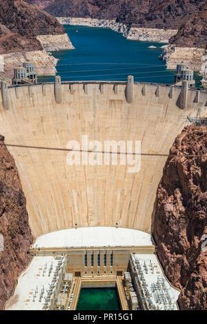 Hoover Dam und Lake, Grenze von Arizona und Nevada, Vereinigte Staaten von Amerika, Nordamerika Stockbild
