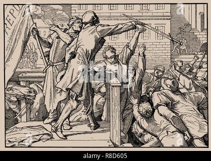 Auch ein Tanz des Todes, Blatt IV (Tod Hände das Schwert auf den Menschen), 1849. Private Sammlung. Stockbild