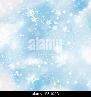 Weihnachten Hintergrund von Schneeflocken und Sterne auf ein Aquarell Textur Stockbild