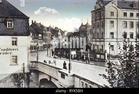 Brücken in Döbeln, Bäckereien in Sachsen, Gebäude in Döbeln, 1916, Landkreis Mittelsachsen, Döbeln, St. Georgen Straße, Deutschland Stockbild