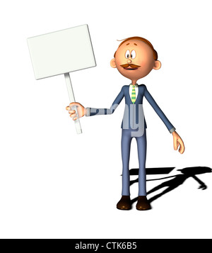 Cartoon Figur Mann mit Schild Stockbild