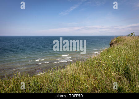 Die Steilküste von Boltenhagen bei schönem Wetter Stockbild
