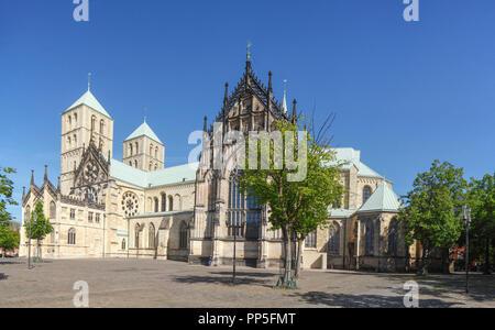 St. Paulus Dom, Domplatz, Münster in Westfalen, Nordrhein-Westfalen, Deutschland, Europa ich St. Paulus-Dom, Domplatz, Münster in Westfalen, Nordr Stockbild
