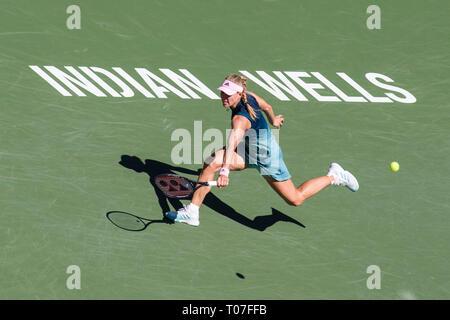 März 17, 2019: Angelique Kerber (GER) in Aktion, wo Sie von Bianca Andreescu (CAN) 6-4, 3-6, 6-4 im Finale der BNP Paribas Open in Indian Wells Tennis Garden im kalifornischen Indian Wells besiegt wurde. © Mal Taam/TennisClix/CSM Stockbild