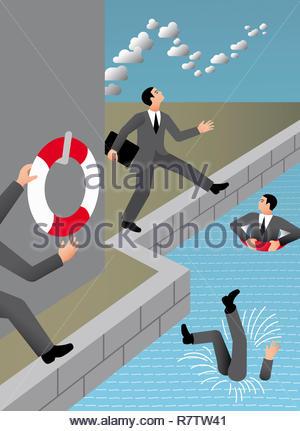 Unternehmer mit dem Kopf in den Wolken in das Wasser fällt Stockbild