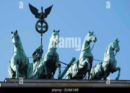 Quadriga auf dem Brandenburger Tor in Berlin. Stockbild