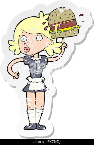 Retro distressed Aufkleber einer Cartoon Kellnerin mit Burger Stockbild