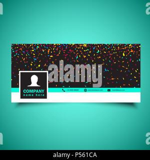 Dekorative social media timeline Abdeckung mit Konfetti design Stockbild
