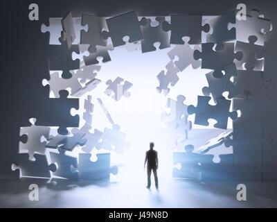 Mann zu Fuß Serpentinenfahrt eine Pause in einer Stichsäge Puzzle-Wand - 3D-Illustration Stockbild