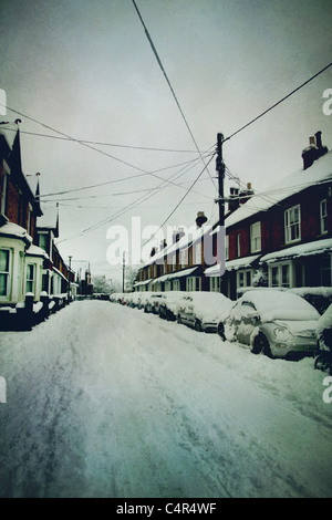 Straße mit Schnee bedeckt Stockbild