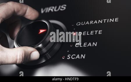 Hand drehen eine Schaltfläche mit dem Titel Virus. Antivirus Protection System Konzept, Bild horizontal. Zusammengesetzte Stockbild