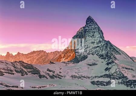 Matterhorn, Ansicht von Wallise Gornergrad, Alpen, Zermatt, Kanton Wallis, Schweiz, Europa Stockbild